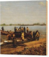 Shad Fishing On The Delaware River Wood Print