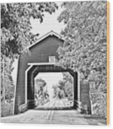 Shimanek Covered Bridge -surreal Bw Wood Print