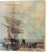 Ship In Harbour Rouen Albert-charles Lebourg Wood Print