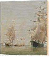 Ship Painting Wood Print