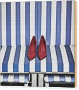 Shoes In A Beach Chair Wood Print