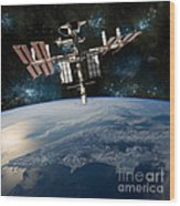 Shuttle Docked At Space Station Wood Print