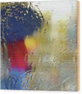 Silhouette In The Rain Wood Print by Carlos Caetano