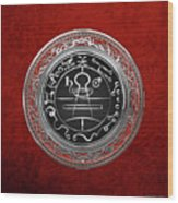 Silver Seal Of Solomon - Lesser Key Of Solomon On Red Velvet  Wood Print