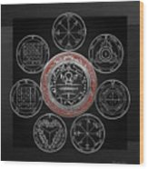 Silver Seal Of Solomon Over Seven Pentacles Of Saturn On Black Canvas  Wood Print