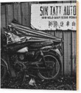 Sin Tatt Auto Works Wood Print