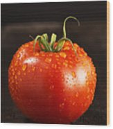 Single Fresh Tomato With Dew Drops Wood Print