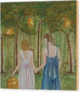 Sisters At Twilight Wood Print