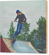 skate park day, Skateboarder Boy In Skate Park, Scooter Boy, In, Skate Park Wood Print