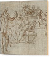 Sketch For The Lower Left Section Of The Disputa Wood Print