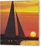 Skipjack At Sunset Wood Print