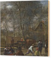 Skittle Players Outside An Inn Wood Print