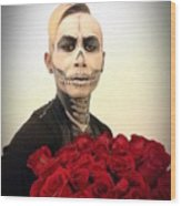Skull Tux And Roses Wood Print