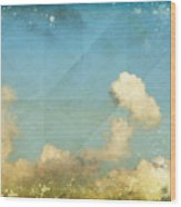 Sky And Cloud On Old Grunge Paper Wood Print by Setsiri Silapasuwanchai