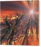 Sky Fire Wood Print