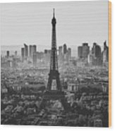 Skyline Of Paris In Black And White Wood Print