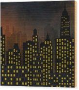Skyscrapers - Panorama Of Modern Skyscraper Town Wood Print