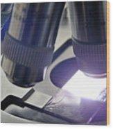 Slide Under Laboratory Microscope Wood Print by Sami Sarkis