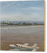 Small City Airport Plane Taking Off Wood Print