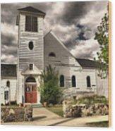 Small Town Church Wood Print