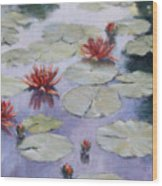 Smooth Sailing - Lilies In Monets Garden Wood Print