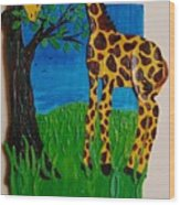Snack Time For Giraffe Wood Print