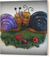 Snails In Love Wood Print by Trina Prenzi
