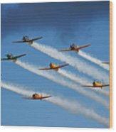 Snj  T-6 Texan And Canadian Harvard Aerobatic Team Wood Print