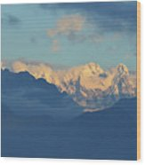 Snow Capped Dolomite Mountains In The Countryside Of Italy  Wood Print