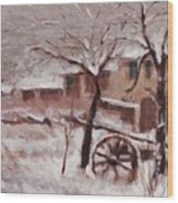 Snow On The Farmhouse Wood Print