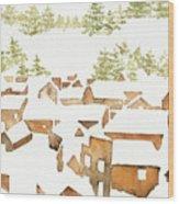 Snow Town Wood Print