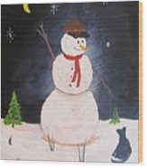 Snowman And Cat Wood Print