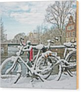snowy Amsterdam in the Netherlands Wood Print