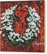 Snowy Christmas Wreath Card Wood Print