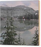 Snowy Green Lake Sunset Whistler B.c Canada Wood Print