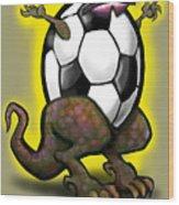 Soccer Saurus Rex Wood Print