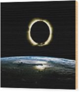 Solar Eclipse From Above The Earth - Infrared View Wood Print