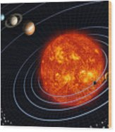 Solar System Wood Print by Stocktrek Images
