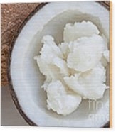 Solid Coconut Oil In Halved Coconut Wood Print