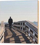 Solitary Man Walks Wood Print
