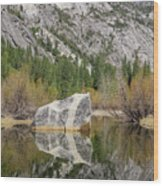 Some Beautiful Scene Of The Famous Mirror Lake Of Yosemite Wood Print