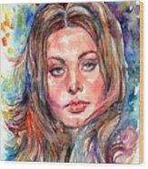 Sophia Loren Painting Wood Print