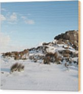 South Hessary Tor In The Snow II Wood Print
