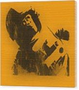 Space Ape Wood Print by Pixel Chimp
