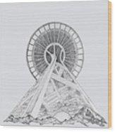 Space Needle- Looking Up Wood Print
