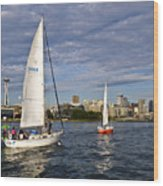 Space Needle Sail By Wood Print