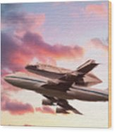 Space Shuttle Discovery Flies Off Into Retirement Wood Print