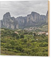 Spectacular Meteora Rock Formations Wood Print