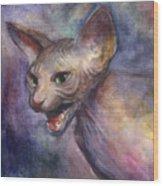 Sphynx Cat Painting Wood Print