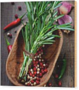 Spices On A Wooden Board Wood Print